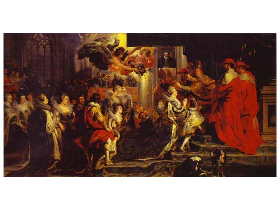 Korunovace Marie Medicejské; ztvárnění až v naturalistickém stylu, kromě 2 okřídlených bohů úspěchu; později malířovi vytýkali to, že směšoval různé skutečnosti