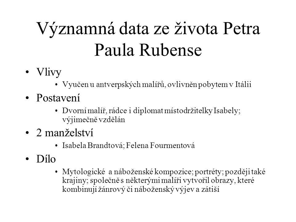 Významná data ze života Petra Paula Rubense