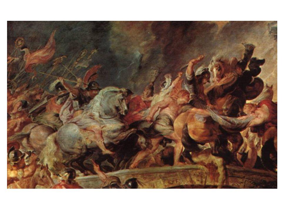 Bitva Amazonek: obraz plný reminiscencí z válečných scén namalovaných Rubensovými významnými předchůdci (leonardo da Vinci a Tizian); Rubens nechtěl ukázat boj, ale spíše pohyb a rytmus.