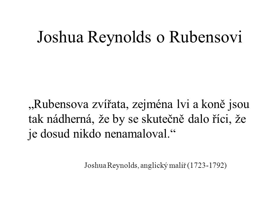 Joshua Reynolds o Rubensovi