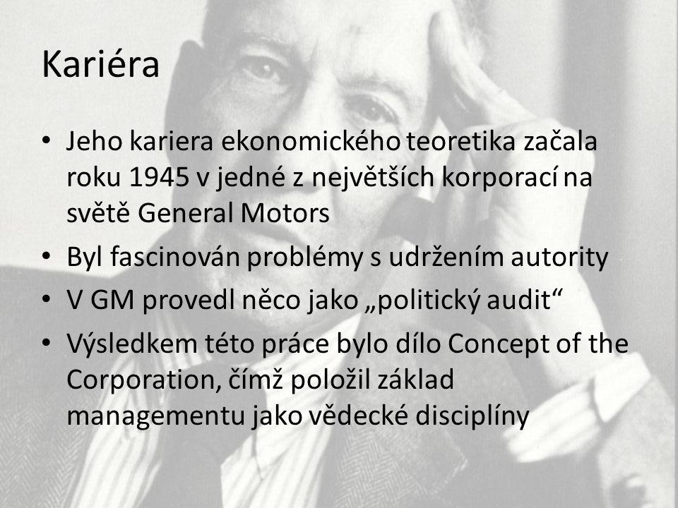 Kariéra Jeho kariera ekonomického teoretika začala roku 1945 v jedné z největších korporací na světě General Motors.