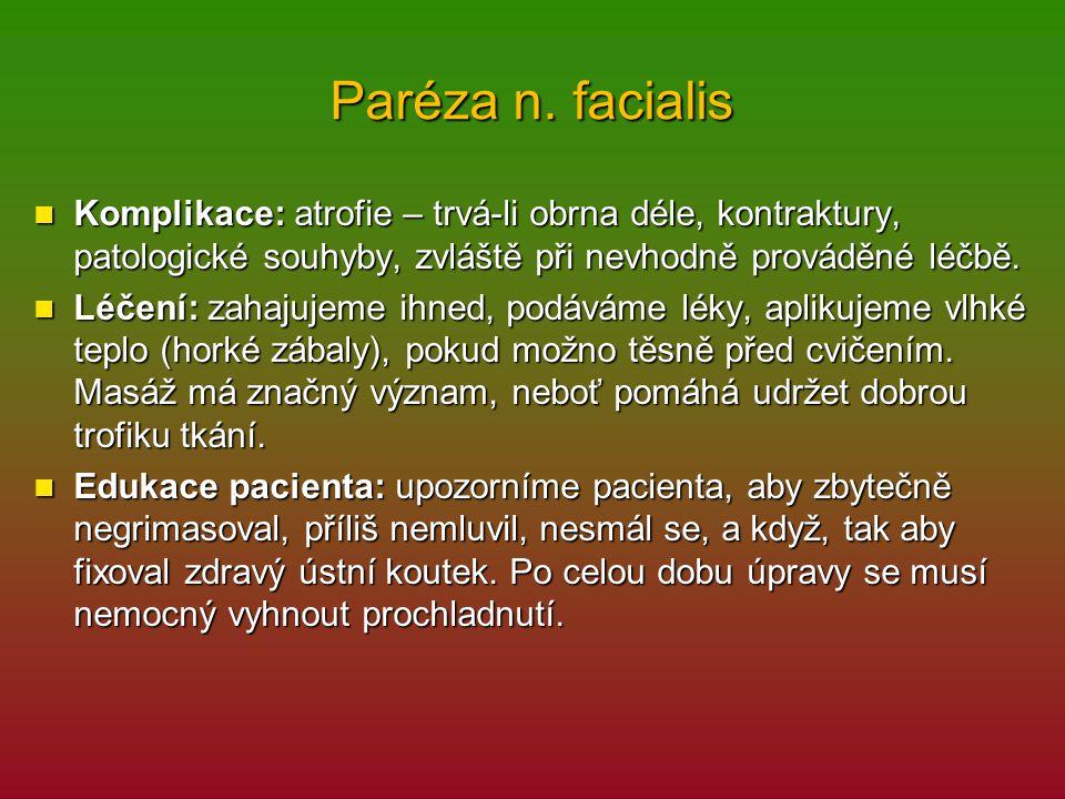 Paréza n. facialis Komplikace: atrofie – trvá-li obrna déle, kontraktury, patologické souhyby, zvláště při nevhodně prováděné léčbě.