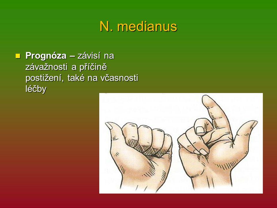N. medianus Prognóza – závisí na závažnosti a příčině postižení, také na včasnosti léčby