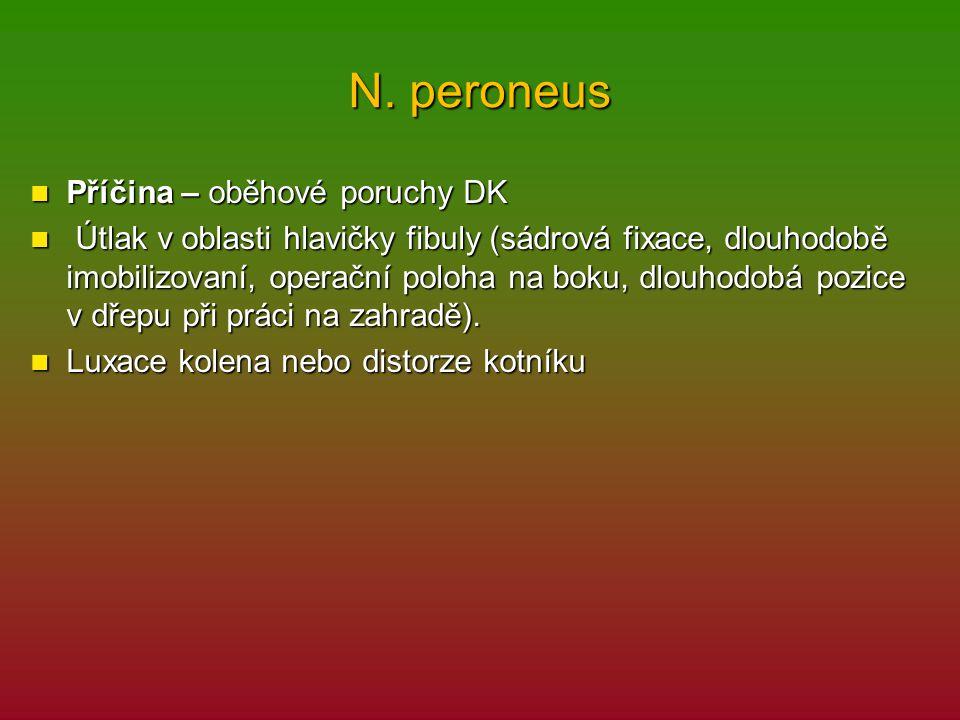 N. peroneus Příčina – oběhové poruchy DK