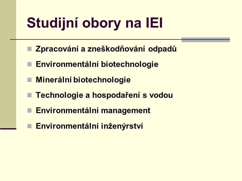 Studijní obory na IEI Zpracování a zneškodňování odpadů