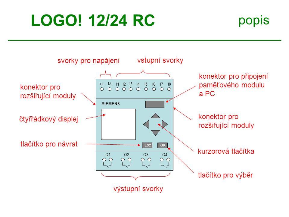 LOGO! 12/24 RC popis svorky pro napájení vstupní svorky