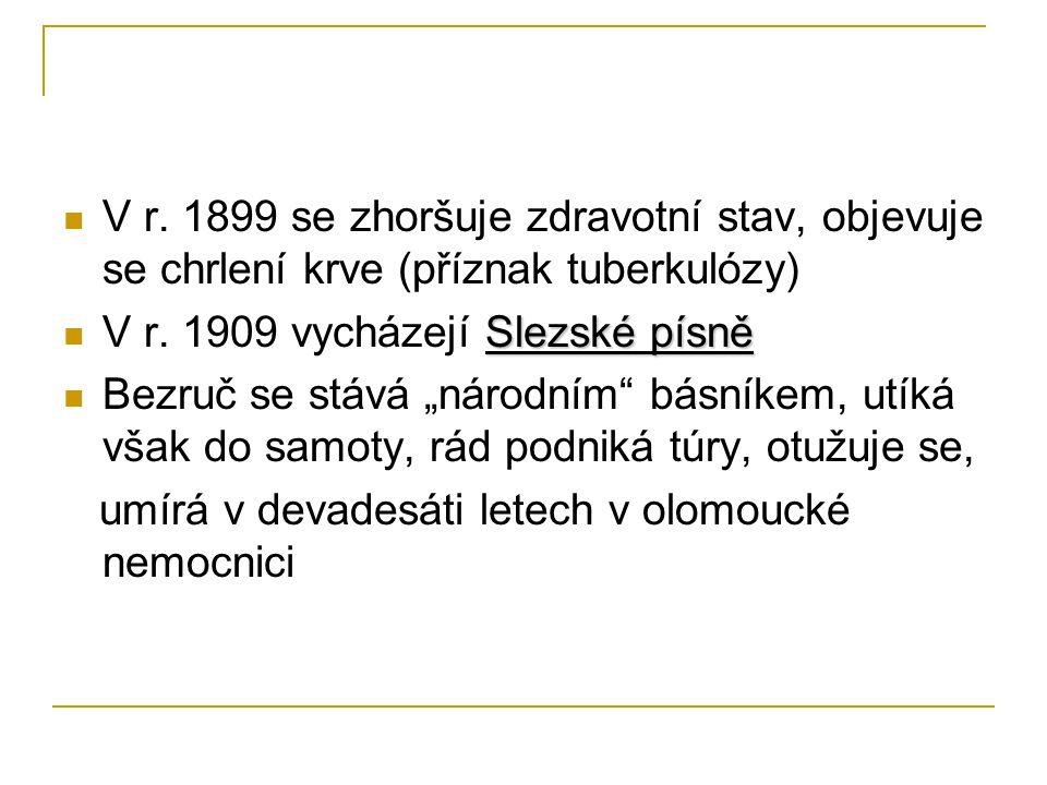 V r. 1899 se zhoršuje zdravotní stav, objevuje se chrlení krve (příznak tuberkulózy)