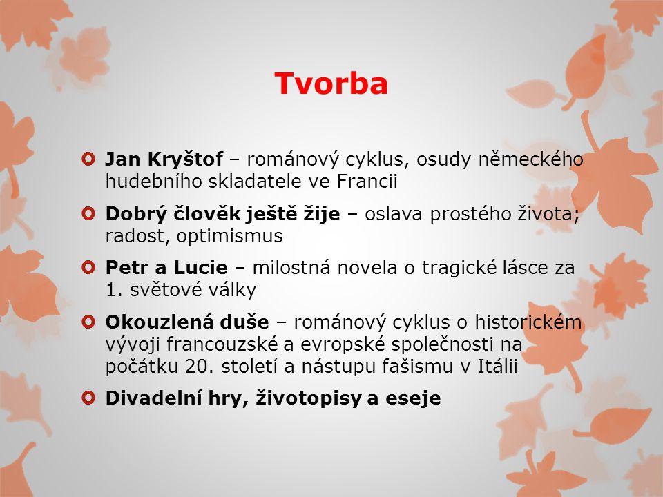 Tvorba Jan Kryštof – románový cyklus, osudy německého hudebního skladatele ve Francii.