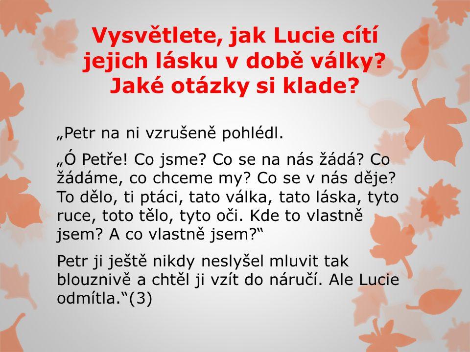 Vysvětlete, jak Lucie cítí jejich lásku v době války