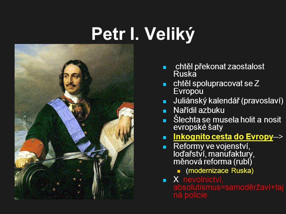 Petr I. Veliký chtěl překonat zaostalost Ruska
