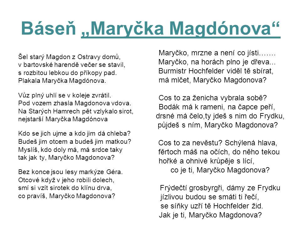 """Báseň """"Maryčka Magdónova"""