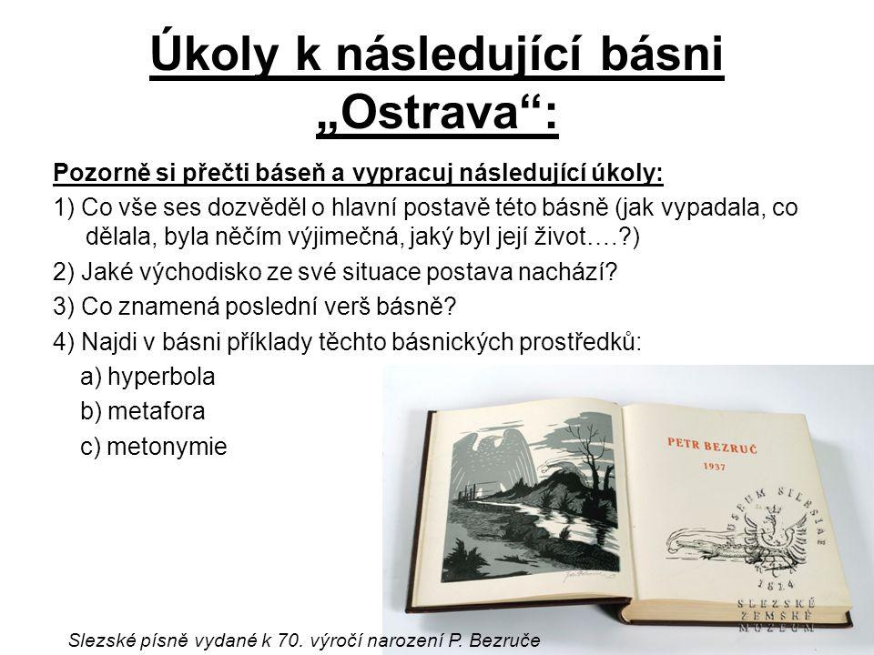 """Úkoly k následující básni """"Ostrava :"""