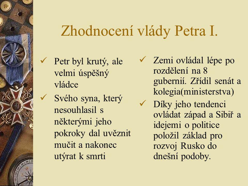 Zhodnocení vlády Petra I.