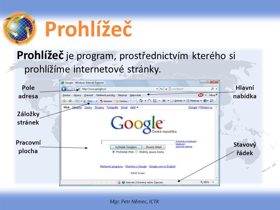 Prohlížeč Prohlížeč je program, prostřednictvím kterého si prohlížíme internetové stránky. Pole adresa.
