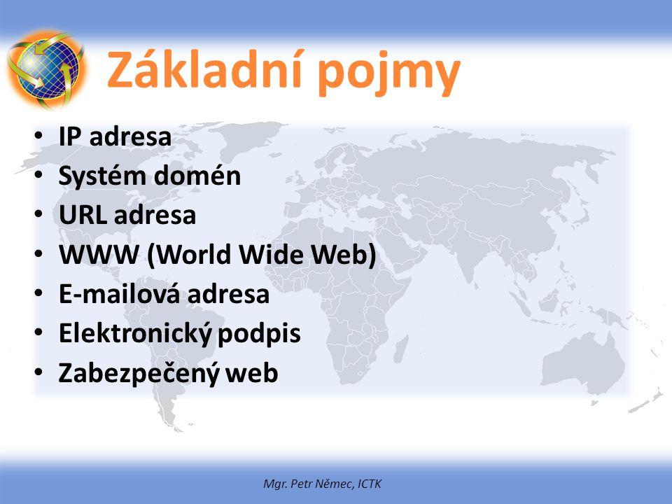 Základní pojmy IP adresa Systém domén URL adresa WWW (World Wide Web)