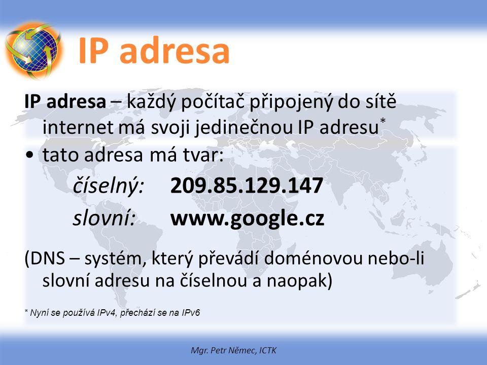 IP adresa slovní: www.google.cz tato adresa má tvar: