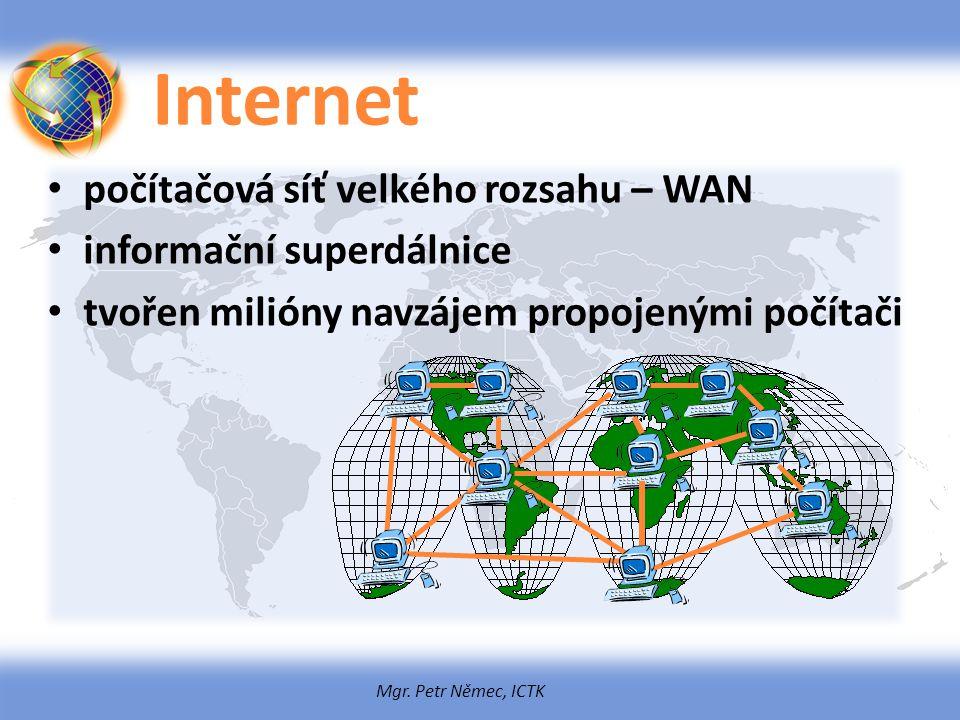 Internet počítačová síť velkého rozsahu – WAN informační superdálnice