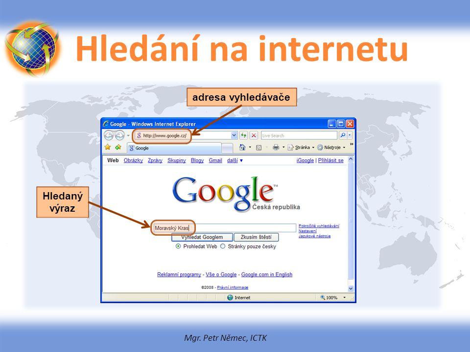 Hledání na internetu adresa vyhledávače Hledaný výraz