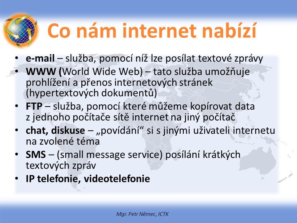 Co nám internet nabízí e-mail – služba, pomocí níž lze posílat textové zprávy.