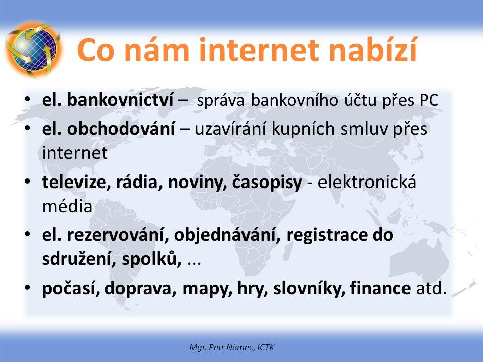Co nám internet nabízí el. bankovnictví – správa bankovního účtu přes PC. el. obchodování – uzavírání kupních smluv přes internet.