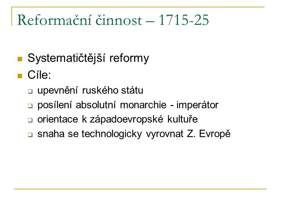 Reformační činnost – 1715-25 Systematičtější reformy Cíle: