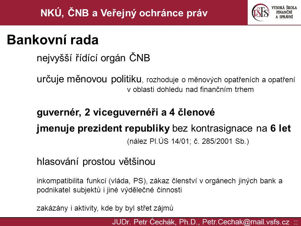 NKÚ, ČNB a Veřejný ochránce práv