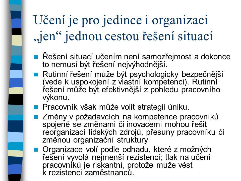 """Učení je pro jedince i organizaci """"jen jednou cestou řešení situací"""