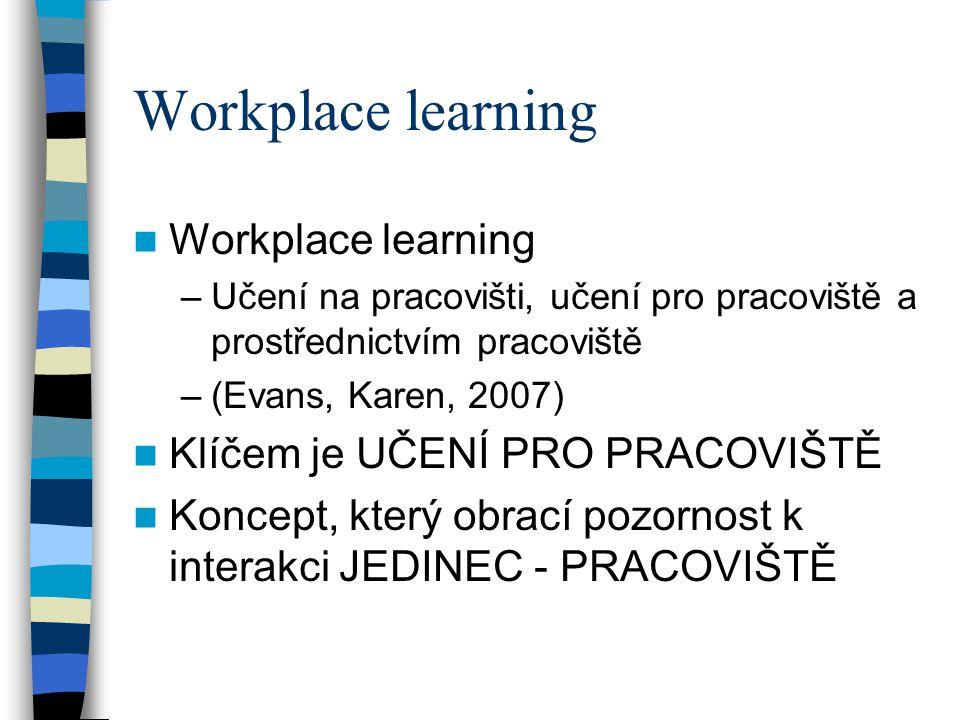 Workplace learning Workplace learning Klíčem je UČENÍ PRO PRACOVIŠTĚ