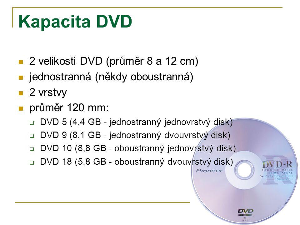 Kapacita DVD 2 velikosti DVD (průměr 8 a 12 cm)