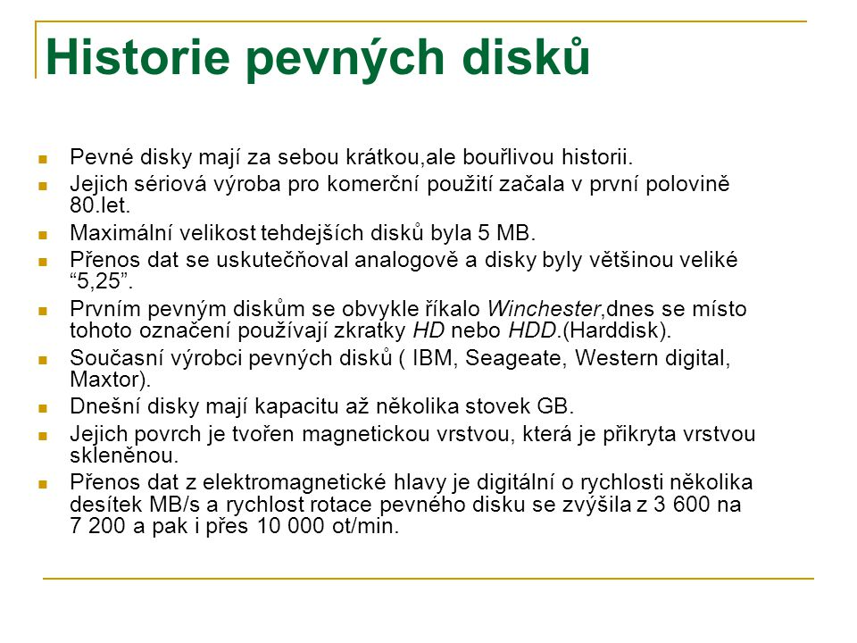 Historie pevných disků
