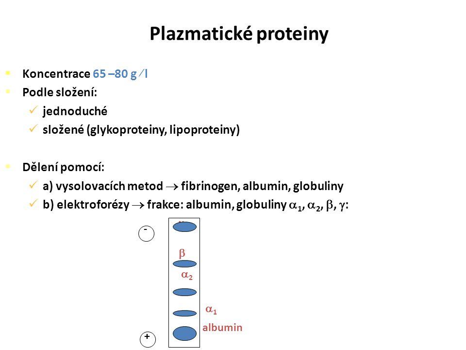 Plazmatické proteiny Koncentrace 65 –80 g  l Podle složení:
