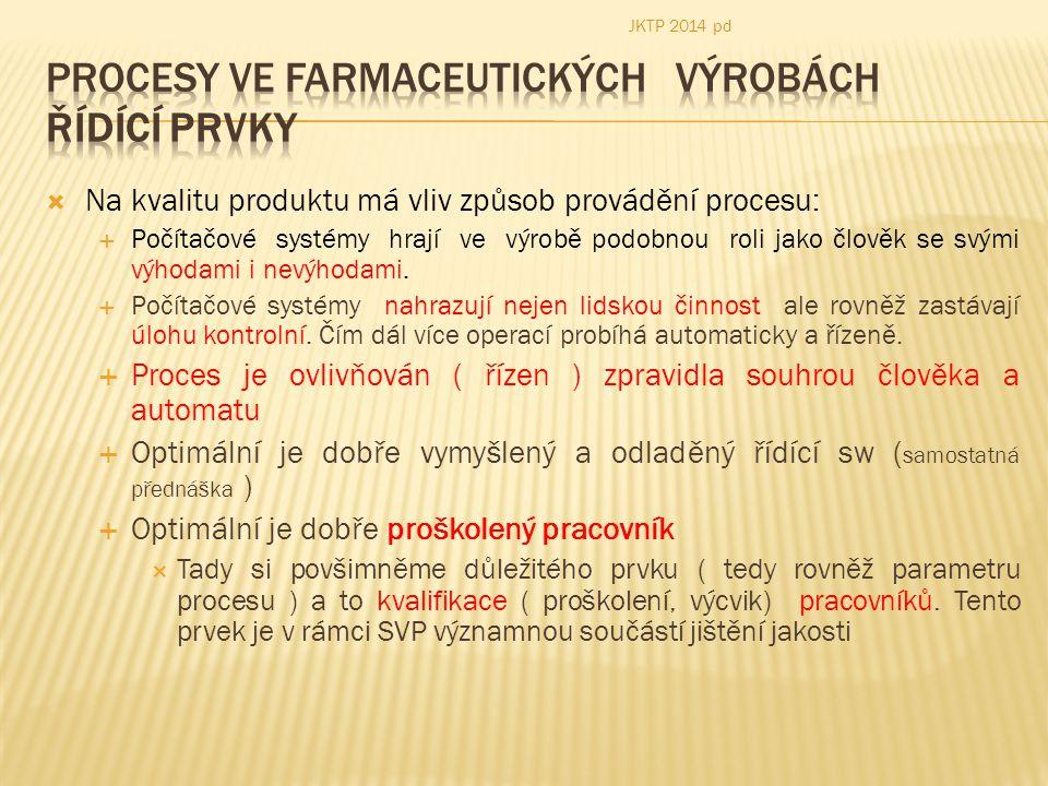 Procesy ve farmaceutických výrobách ŘÍDÍCÍ PRVKY