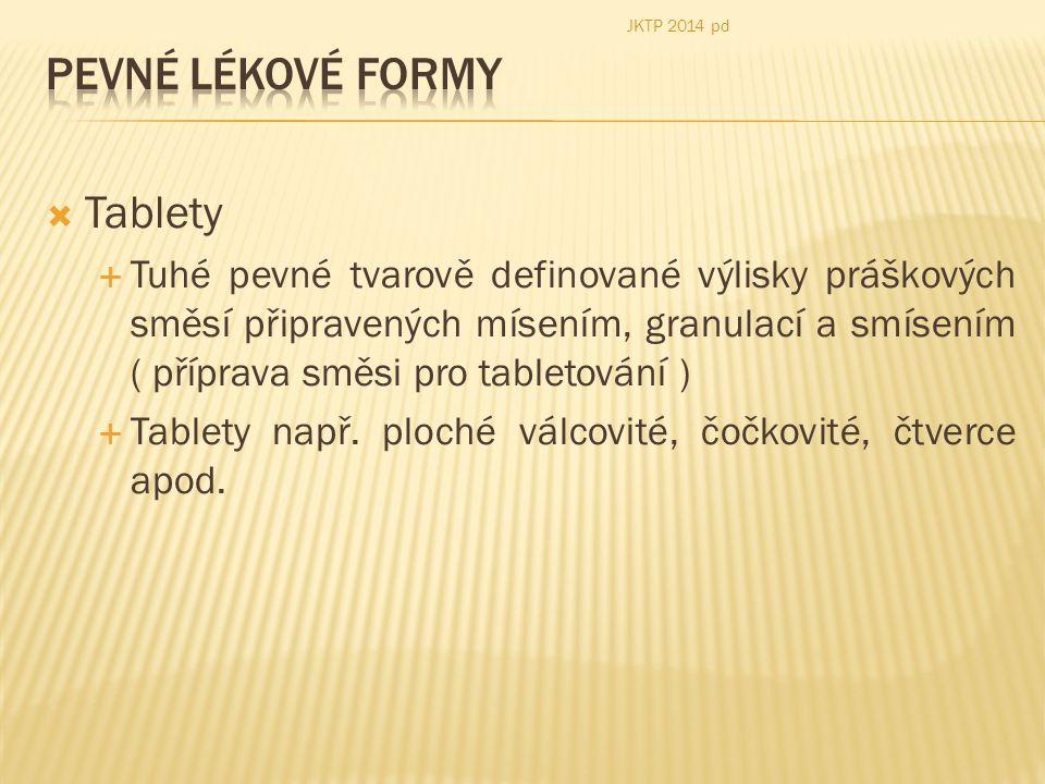 Pevné lékové formy Tablety