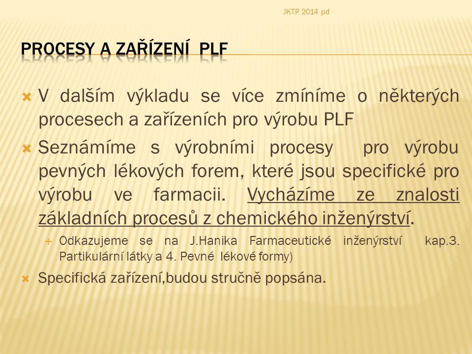 JKTP 2014 pd Procesy a zařízení PLF. V dalším výkladu se více zmíníme o některých procesech a zařízeních pro výrobu PLF.