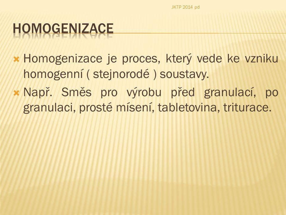 JKTP 2014 pd Homogenizace. Homogenizace je proces, který vede ke vzniku homogenní ( stejnorodé ) soustavy.