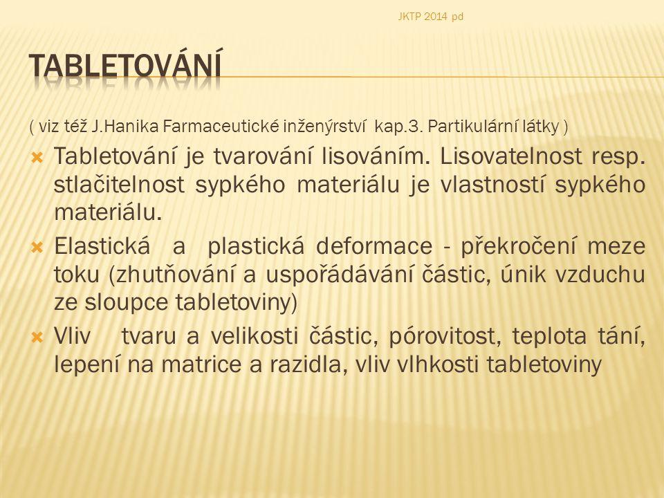 JKTP 2014 pd Tabletování. ( viz též J.Hanika Farmaceutické inženýrství kap.3. Partikulární látky )