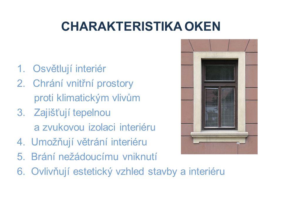 CHARAKTERISTIKA OKEN Osvětlují interiér Chrání vnitřní prostory