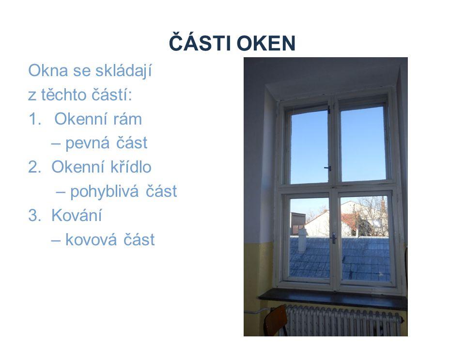 Části oken Okna se skládají z těchto částí: Okenní rám – pevná část