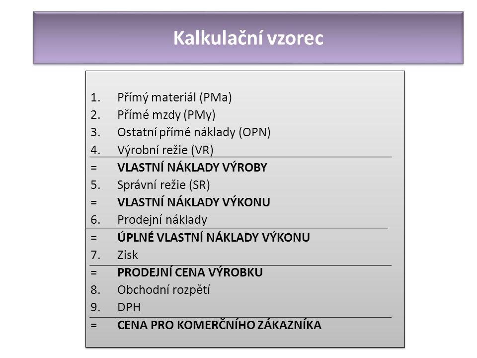 Kalkulační vzorec Přímý materiál (PMa) Přímé mzdy (PMy)