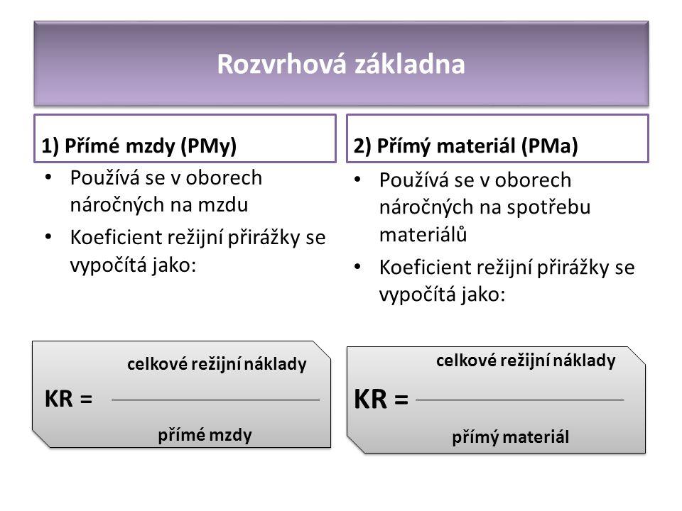 Rozvrhová základna KR = KR = 1) Přímé mzdy (PMy)
