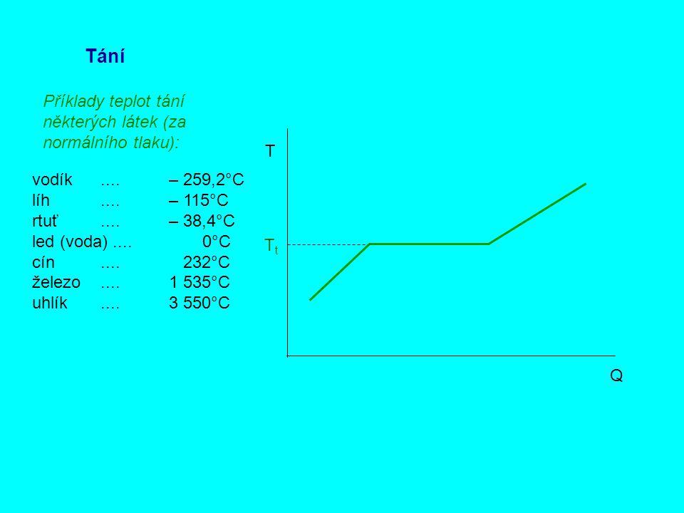 Tání Příklady teplot tání některých látek (za normálního tlaku): T