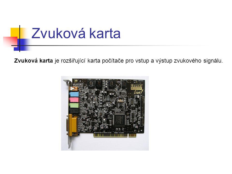 Zvuková karta Zvuková karta je rozšiřující karta počítače pro vstup a výstup zvukového signálu.