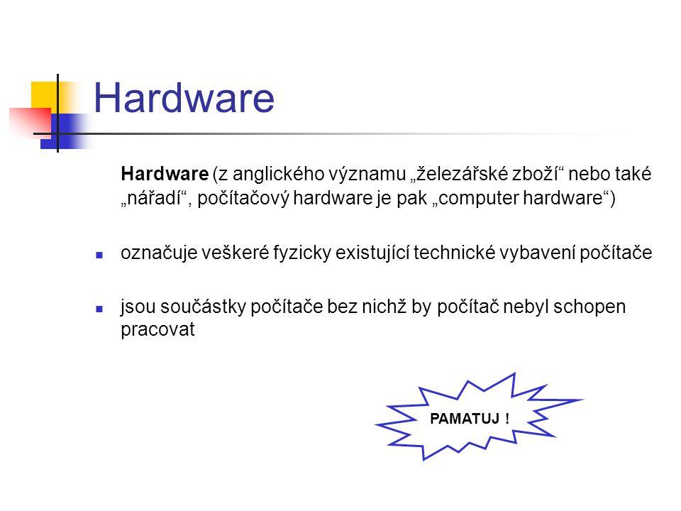 """Hardware Hardware (z anglického významu """"železářské zboží nebo také """"nářadí , počítačový hardware je pak """"computer hardware )"""
