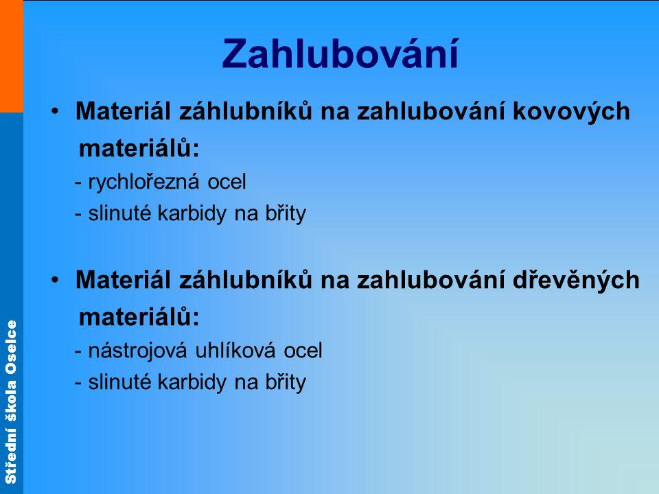 Zahlubování Materiál záhlubníků na zahlubování kovových materiálů: