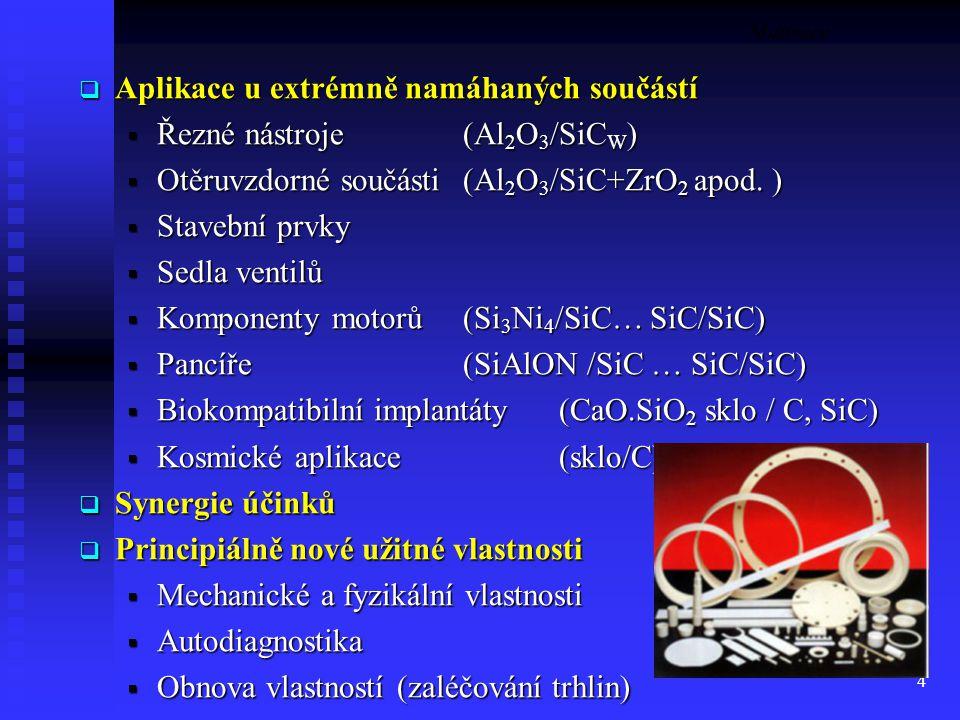 Aplikace u extrémně namáhaných součástí Řezné nástroje (Al2O3/SiCW)