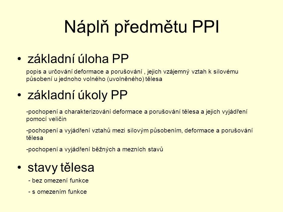 Náplň předmětu PPI základní úloha PP základní úkoly PP stavy tělesa