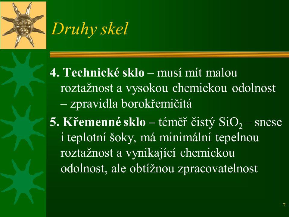 Druhy skel 4. Technické sklo – musí mít malou roztažnost a vysokou chemickou odolnost – zpravidla borokřemičitá.