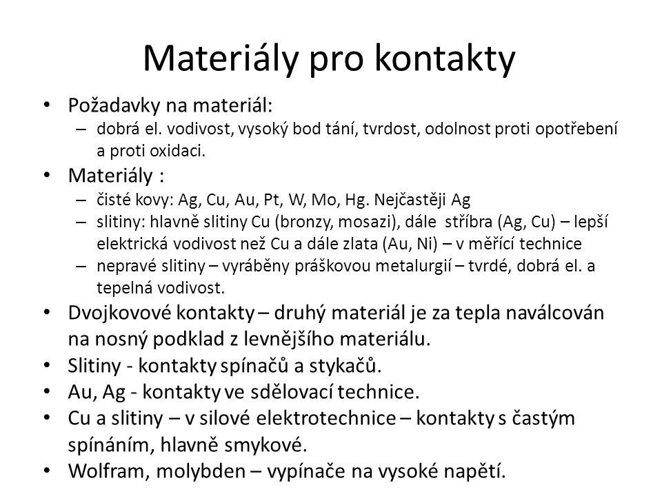 Materiály pro kontakty