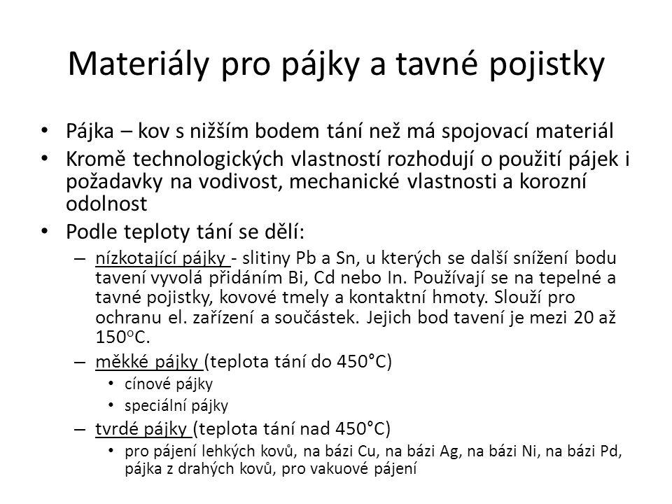 Materiály pro pájky a tavné pojistky