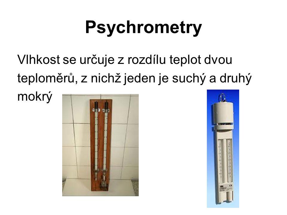 Psychrometry Vlhkost se určuje z rozdílu teplot dvou